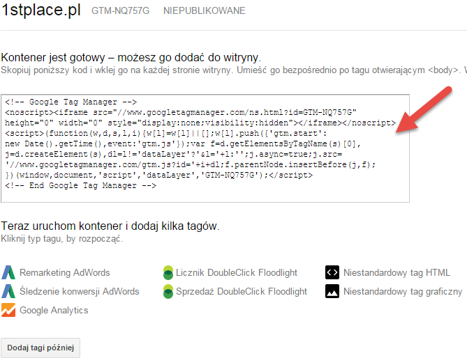 google tag manager kod