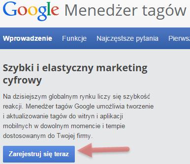 rejestracja google tag manager