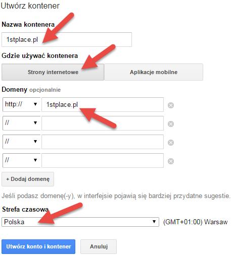 google tag manager tworzenie kontenera