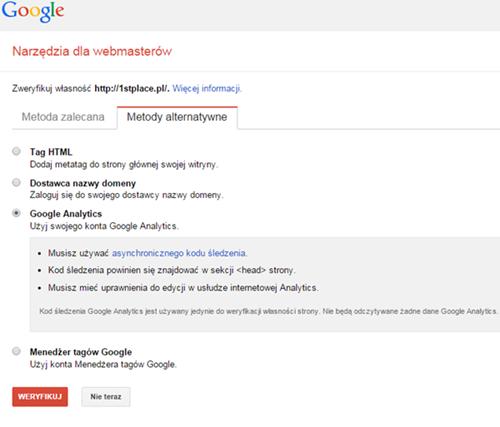 google webmaster tools weryfikacja