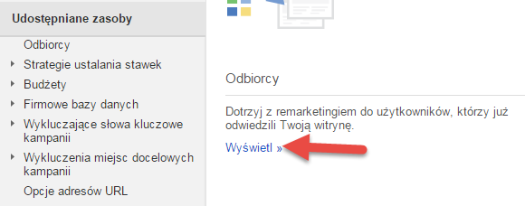 odbiorcy google adwords remarketing