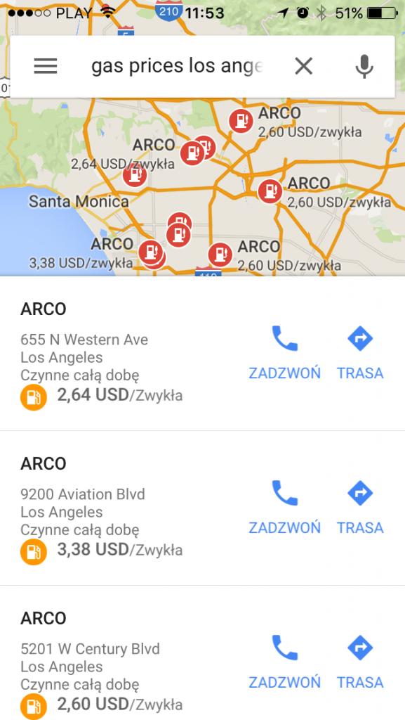 aktualizacja map google stacja benzynowa 1stplace.pl