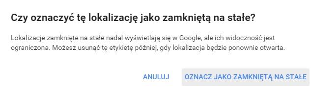 zamykanie punktu google plus potwierdzenie