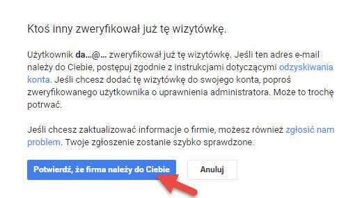 potwierdzenie że wizytówka google moja firma należy do nas