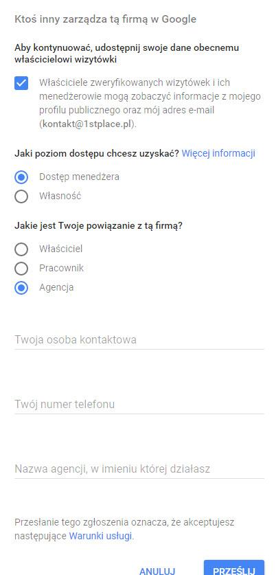 formularz dotyczący przejmowania wizytówki w goole moja firma