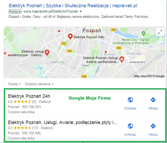 miejsce w mapach google pod reklamami
