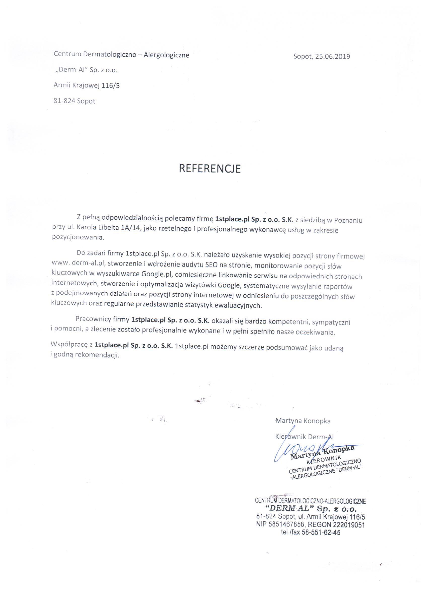 Referencje pozycjonowanie derm-al.pl