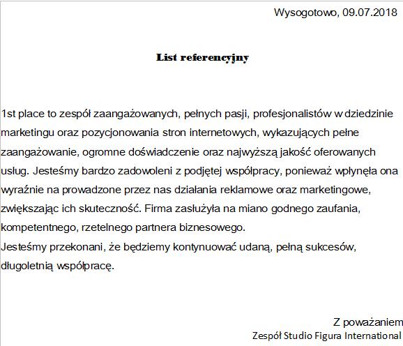 studio figura list referencyjny pozycjonowanie
