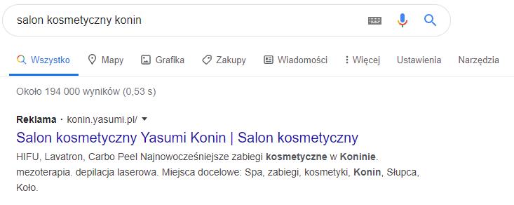 salon kosmetyczny google ads